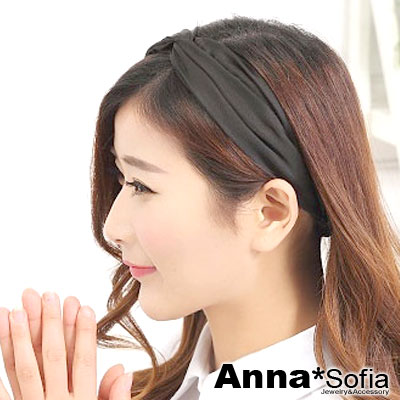 AnnaSofia-韓款柔緞交叉結-彈性寬髮帶-酷黑