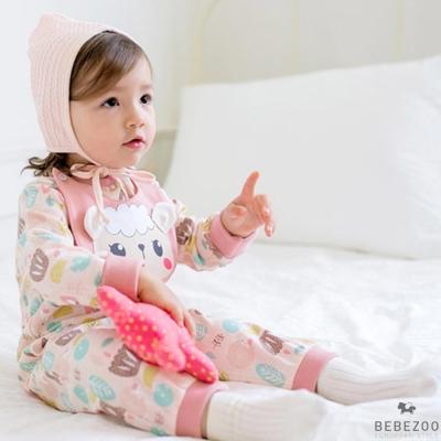 BEBEZOO 韓國 粉色小綿羊長袖連身衣包屁衣圍兜2件組
