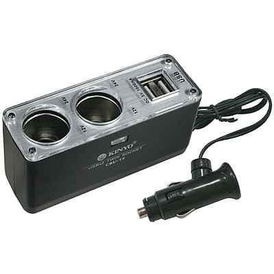 KINYO車用二孔-雙USB輸出孔擴充點煙器-CRU-15
