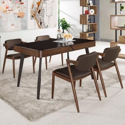 Boden-衛倫4.5尺黑色玻璃餐桌椅組(一桌四椅)-135x80x76cm