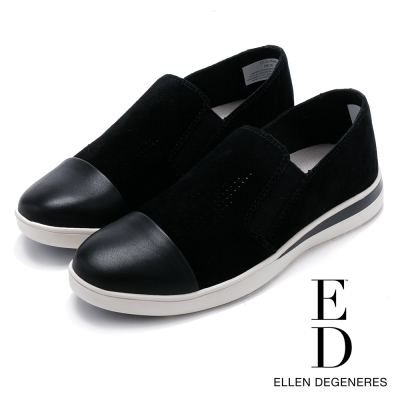ED Ellen DeGeneres 麂皮透氣彈力拼接休閒鞋-絨黑