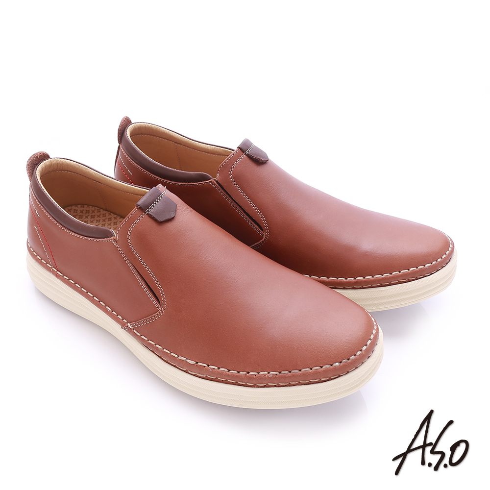 A.S.O 奈米健康氣墊 臘感牛皮縫線設計健走休閒鞋 茶色