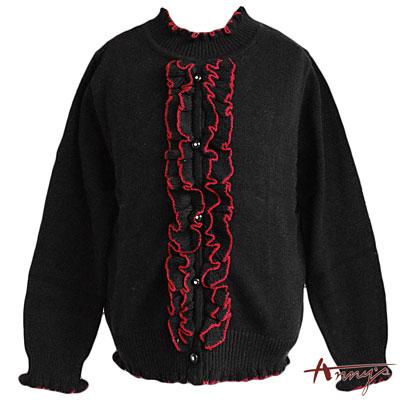 Annys皇室氣質立體荷葉長袖上衣*3271黑