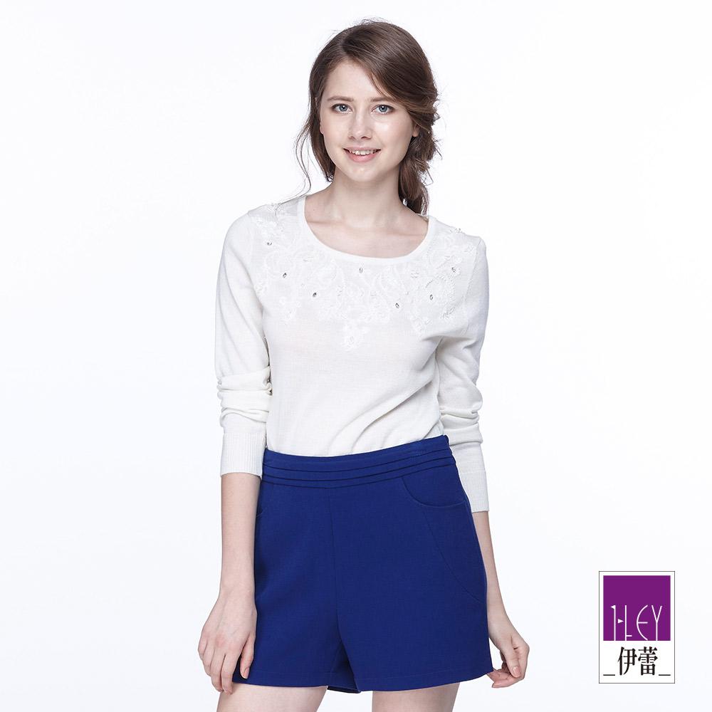 ILEY伊蕾 花卉珠飾圓領羊毛針織上衣(白/綠)