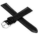 海奕施HIRSCH Highland L仿舊真皮革手錶帶-黑