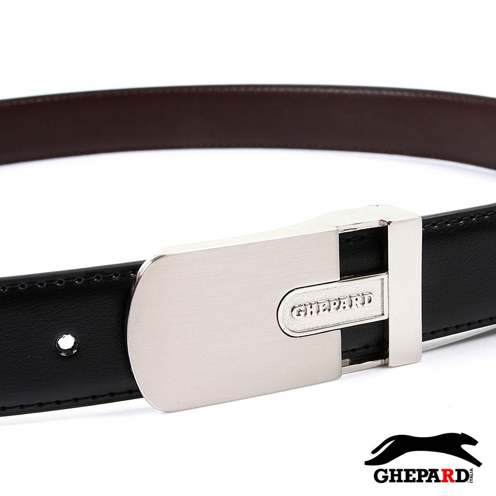 GHEPARD捷豹-經典橢LOGO鏤空頭配二層牛皮點扣皮帶-G430