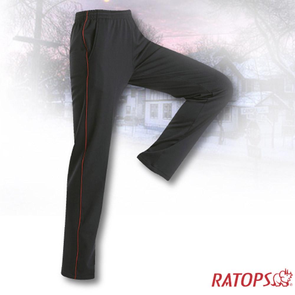 【瑞多仕】中性款 刷毛保暖長褲(出芽配)_DB5934 暗黑/火焰紅色 V1