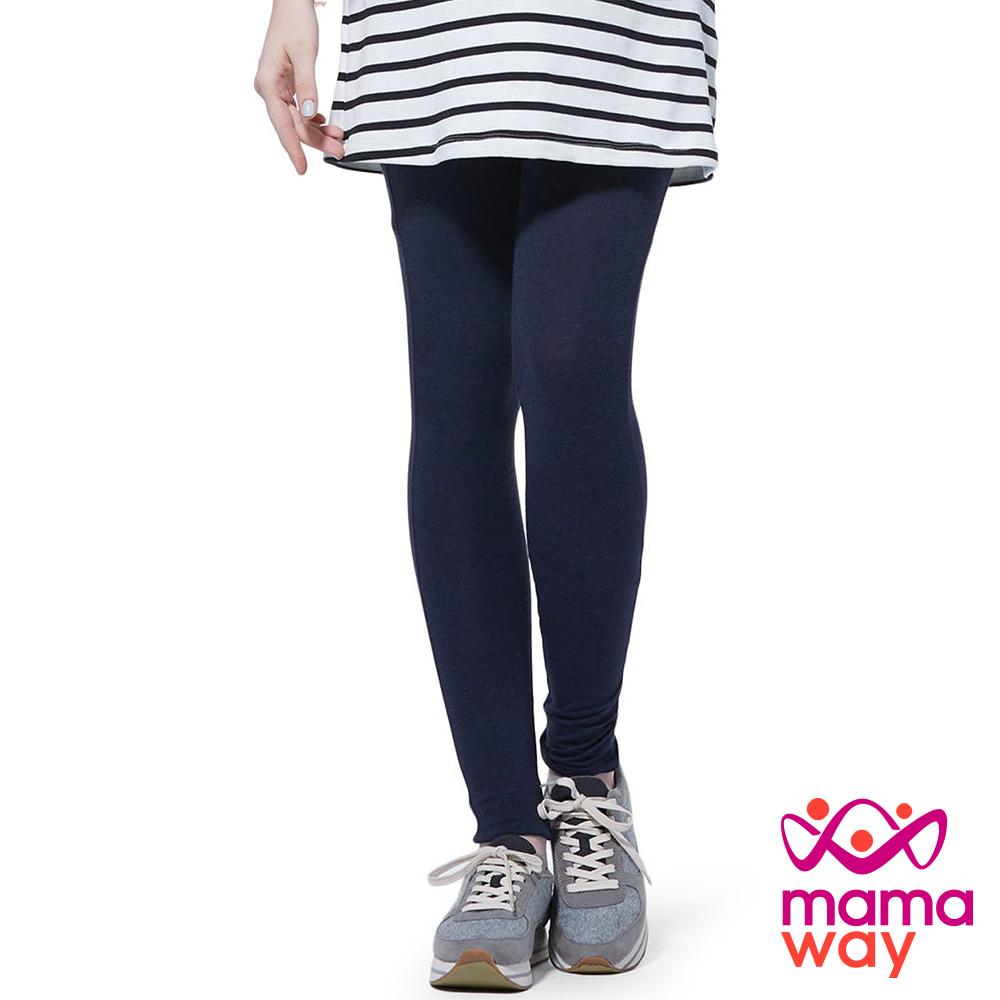 孕婦褲 內搭褲 貼腿褲 全長貼腿孕婦褲(共二色) Mamaway
