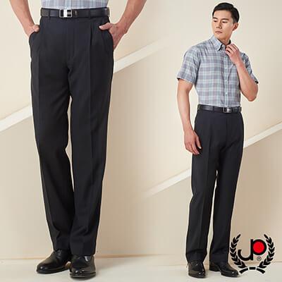 極品西服-摩登品味混紡毛料雙褶西褲_黑(BS605-2)
