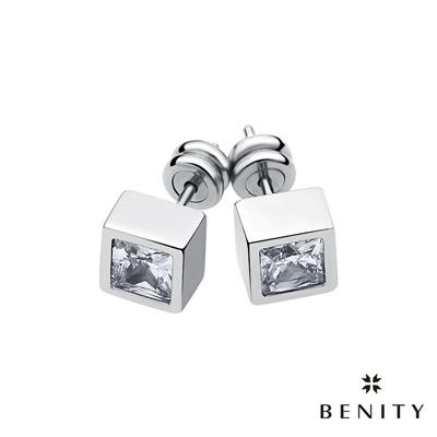 BENITY 片刻永恆 316白鋼/西德鋼 八心八箭cz單鑽 方形 耳環