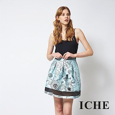 ICHE 衣哲 手繪感印花打褶拼接百搭造型圓裙