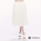 CHICA 知性浪漫抽繩雪紡及膝裙(2色)