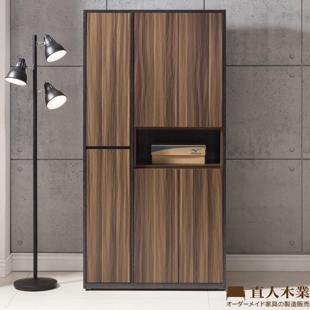 日本直人木業-KNOW輕工業風90CM開放高鞋櫃(90x40x182cm)