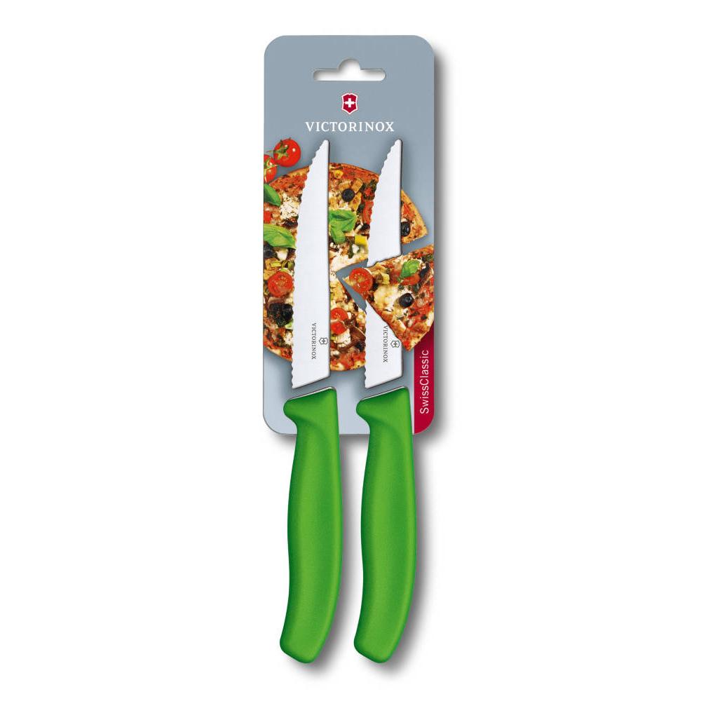 VICTORINOX瑞士維氏 牛排刀/披薩刀(兩件裝)-綠