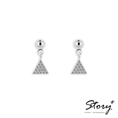STORY故事銀飾-幾何鋯石垂墜-純銀耳環