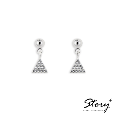 STORY ACCESSORY-幾何鋯石垂墜-純銀耳環