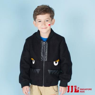 JJLKIDS 小惡魔造型鋪棉保暖棒球外套(黑色)