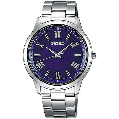 SEIKO精工 太陽能 簡單愛三針設計腕錶(SBPL009J)-藍/39mm