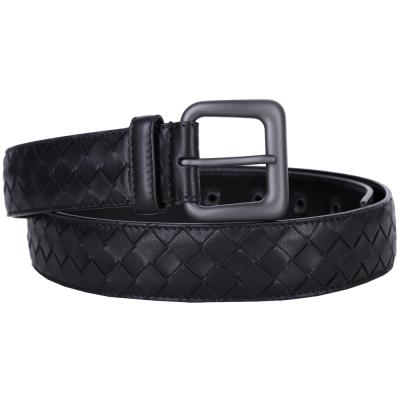 BOTTEGA VENETA INTRECCIATO 經典小羊皮編織皮帶(黑色)