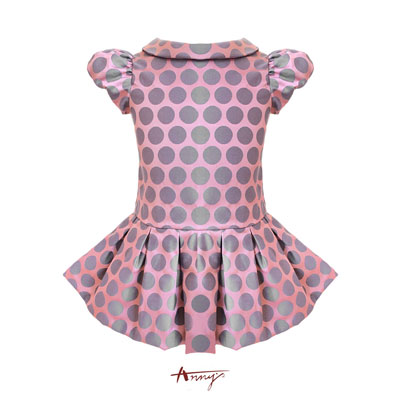 Annys可愛淘氣公主袖緞質大點點洋裝*7240粉