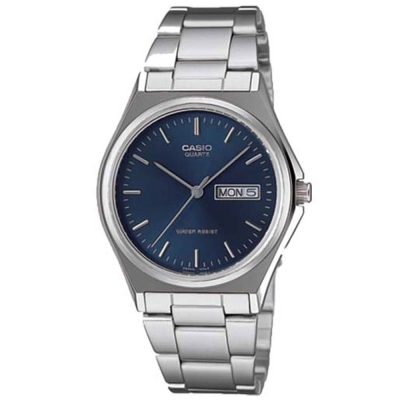 CASIO 經典簡約時尚日曆星期腕錶(MTP-1240D-2A)-丁字藍面/36mm