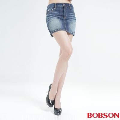BOBSON 蝴蝶結貼鑽牛仔短裙(深藍)