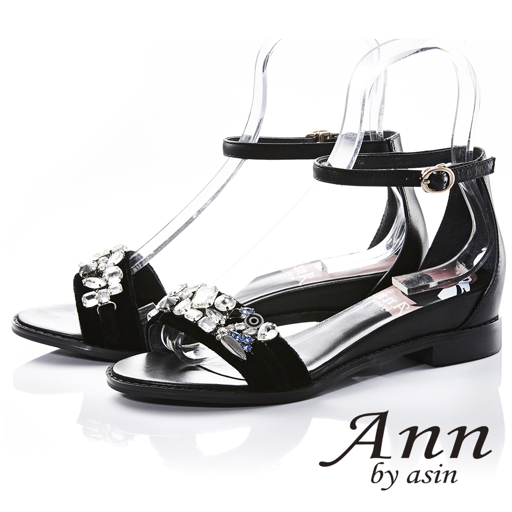 Ann by asin高雅出眾~亮澤水鑽腳踝釦帶真皮平底涼鞋(黑色)