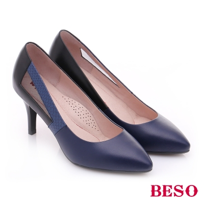 BESO-極簡風格-真皮拼接側鏤空尖楦高跟鞋-黑