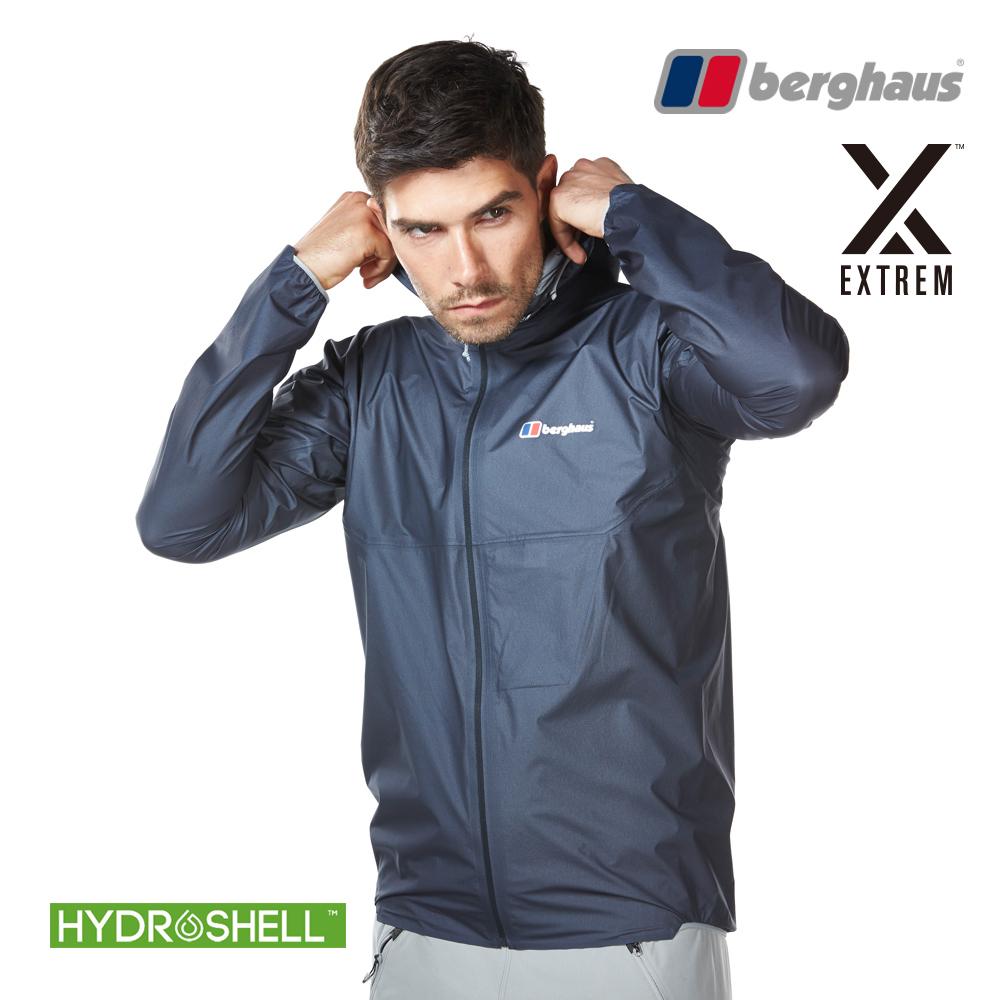 【Berghaus貝豪斯】男款HS超輕薄防水透氣連帽外套S02M52碳灰