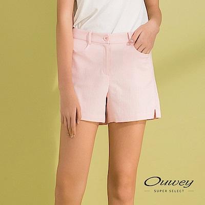 OUWEY歐薇 造型剪裁輕薄棉質短褲(粉/藍)