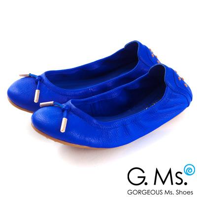 G.Ms. 輕旅行-全真皮單結蝴蝶結折疊豆豆鞋-甜莓藍