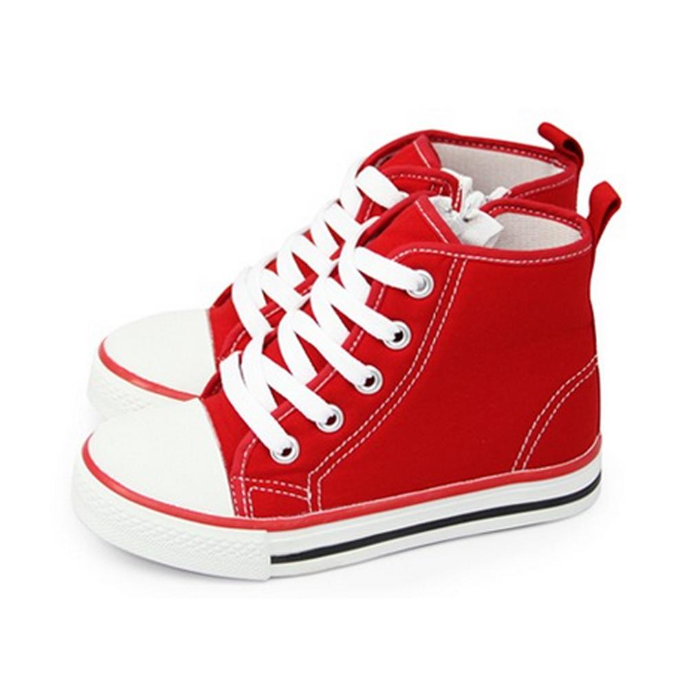 FUFA  MIT 童趣高筒帆布鞋   (AB02)-紅色