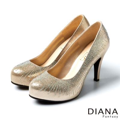 DIANA-時尚奢華-輕熟閃耀放射水鑽高跟鞋-金