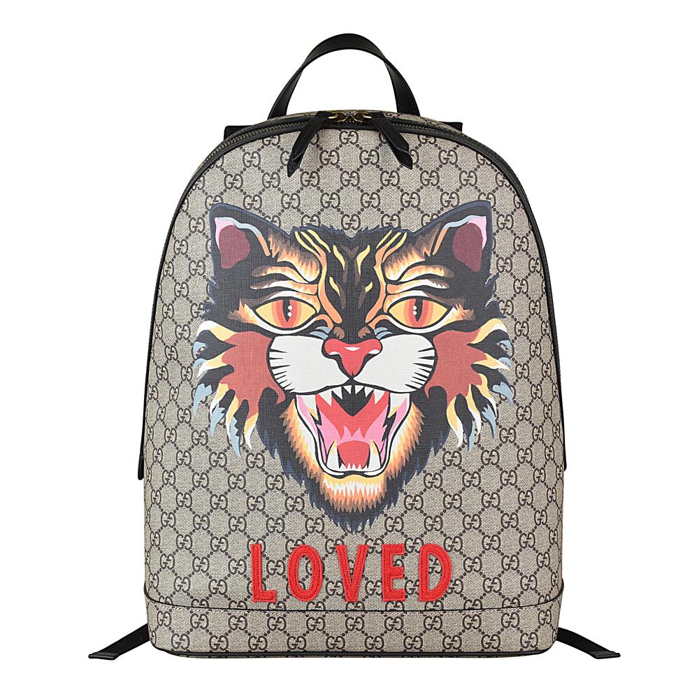 Gucci Supreme GG系列 Angry cat圖印PVC皮革拉鍊後背包-咖啡x黑GUCCI