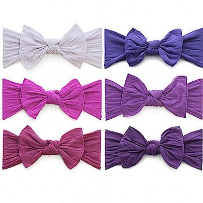 Baby Bling 紫色系大蝴蝶結寬版寶寶素色髮帶-六色任選