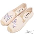 Ann'S夢幻獨角馬手繪刺繡草編鞋-米白