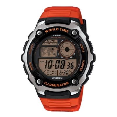 CASIO 城市地圖玩家數位休閒運動錶(AE-2100W-4A)-紅/47.7mm