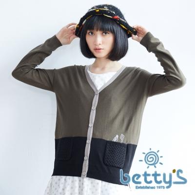 betty's貝蒂思 可愛插圖毛線編織口袋細針織衫(軍綠色)