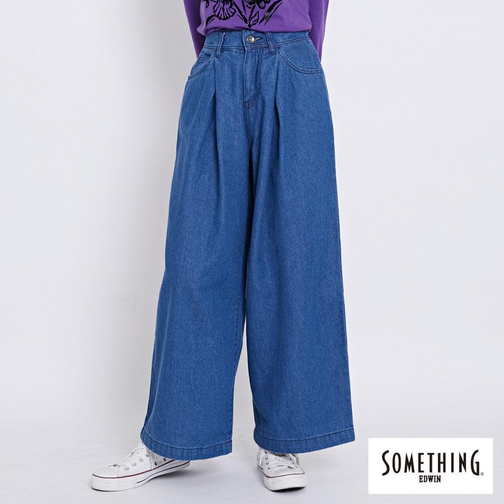 SOMETHING 後腰鬆緊打摺高腰牛仔超寬褲-女-拔洗藍