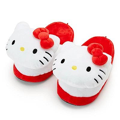 Sanrio HELLO KITTY立體大臉造型絨毛室內拖鞋