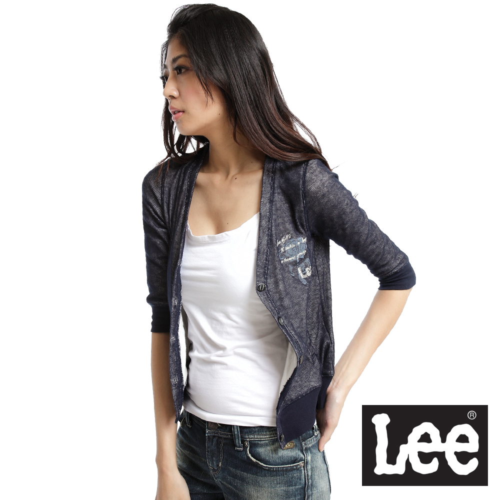 【Lee】Sunset Junction 前開扣V領七分袖雙層針織薄外套-女款(藍)