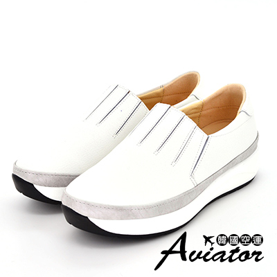 Aviator*韓國空運-正韓製簡約壓紋切割增高休閒鞋-白
