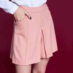 Chaber巧帛 微甜氣質百搭素面挺版簡約造型褲裙-粉膚