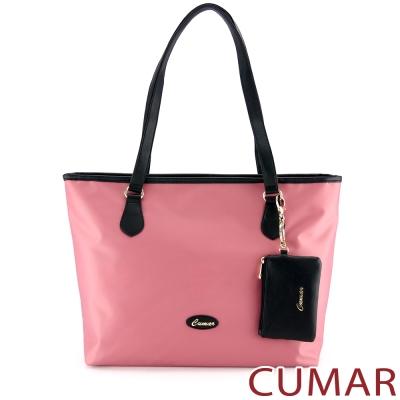 CUMAR 大容量素面防潑水托特包(附零錢包)-粉紅