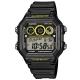 CASIO 10年電力亮眼設計方形數位錶(AE-1300WH-1A)-黑框x黃錶圈/42mm product thumbnail 1