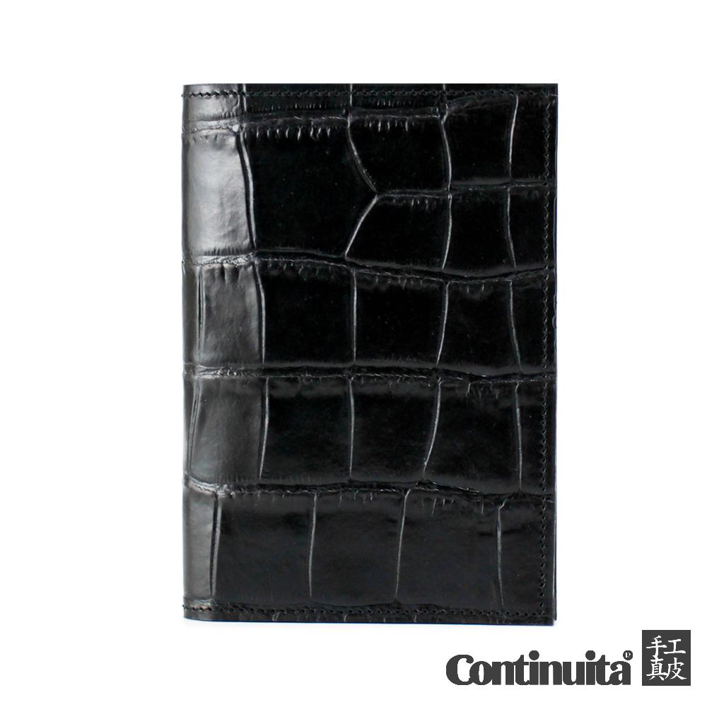 【Continuita 康緹尼】MIT 多功能復古小牛皮護照夾 (黑色)