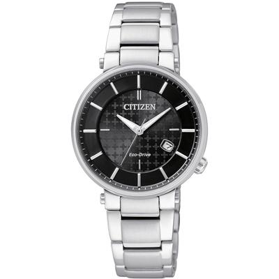 CITIZEN Eco-Drive 幸福時光時尚光動能腕錶(EW1790-57E)-黑/30mm