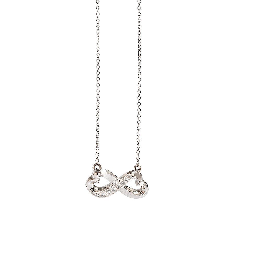 TIFFANY&Co.8字鑲鑽雙愛心白K金墜飾項鍊