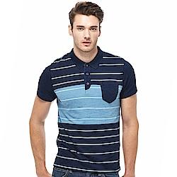 Lee 條紋短袖POLO袖-男款-藍