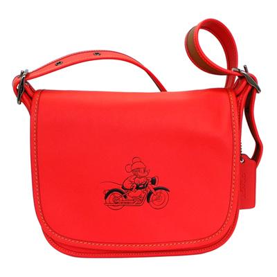 COACHXDISNEY聯名款紅色全皮打檔車MICKEY斜背馬鞍包(中 )